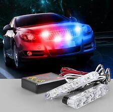 2x4Led Police Car Offroad Emergency Flashing DC12V Strobe Warning Light Blue Red