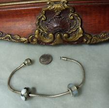 Vintage Sterling Silver Murano 2 Charm Bead Pandora Bracelet