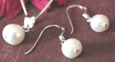 Solid 925 sterling silver real freshwater pearl earrings & pendant free gift box