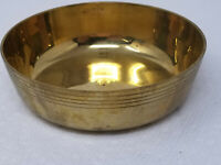 "Vintage 4"" Banded Brass Coin Change Bowl Container"