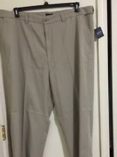HARBOR BAY Hidden Waist Relaxer Pleated 100% Cotton Khaki Pant 42x34 NWT $80