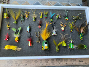VTG. FLY ROD WOOD POPPER LURE LOT TOPWATER WEED LESS FROGS 🐸 Fishing
