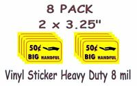 8 PACK BIG HANDFUL Stickers Bulk Vending Candy Machine Labels .50 cent