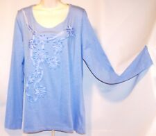 NEW with Tag KIARA Blue XL Tee Style Top with APPLIED RIBBON FLOWERS Scoop Neck