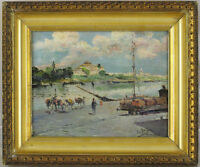 Manuel Garcia y Rodríguez (1863-1925) Spanish Antique Original Oil Guadalquivir