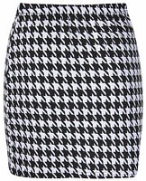 NEW LADIES BLACK WHITE DOGTOOTH PRINT BODYCON MINI TUBE SKIRT SIZE 8-14