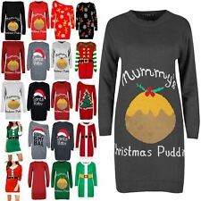 Womens Oversized Mummy's Christmas Ladies Pudding Maternity Baggy Knitted Dress