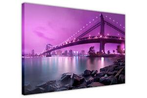 PURPLE CANVAS PRINTS WALL ART MANHATTAN BRIDGE NEW YORK / PHOTO PRINT PICTURES