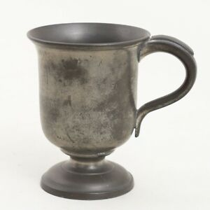 """Signed James Yates Pewter 1/2 Pint Tankard Footed Handled Cup Stein 4.25"""" Tall"""