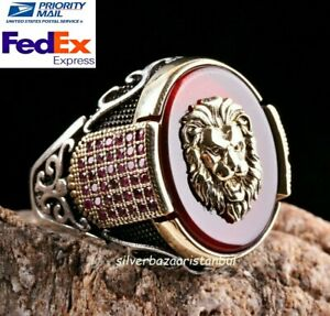 Turkish Jewelry 925 Sterling Silver Red Agate Aqeeq Ruby King Lion Mens Ring Usa