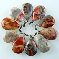 10pcs Charming Beautiful Yellow Crazy Lace Agate Teardrop Pendant Bead L-BSD15