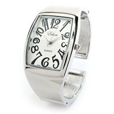 Silver Metal Large Rectangle Face Women's Bangle Cuff Watch