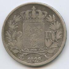 Charles X (1824-1830) 2 Francs argent 1828 A Paris 8/7 Variété rare