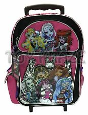"""MONSTER HIGH ROLLING BACKPACK! PINK w/ WHITE TOWER ROLLER SCHOOL BAG 16"""" NWT"""