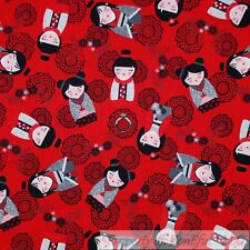 BonEful Fabric Cotton Quilt Red White Black Asian Flower Girl Doll Print L Scrap