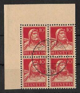 SWITZERLAND 1918 Used 10 Rp Block of 4 ALTDORF Zumm #126/I CERTIFICATE