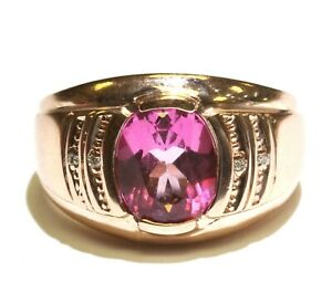 14k rose gold .02ct VS G diamond created pink topaz mens ring 8.6g gents
