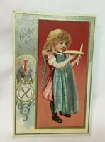 *Vintage Embossed Thanksgiving Postcard THANKSGIVING young girl and turkey