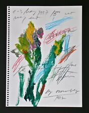CY TWOMBLY -- A 1990s ORIGINAL FLOWERS GOUACHE PAINTING PENCIL SIGNED, ROMA ROME