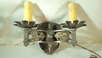 Antique Double Light Cast Brass Nickel Plated Wall Hugger Sconce