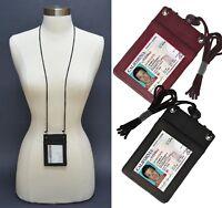 Men Women Leather ID Badge Holder Neck Strap Travel Lanyard Card Wallet Travel