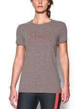 NWT Under Armour UA Big Logo Short Sleeve Shirt Carbon Heather/Pomegranate Sz S