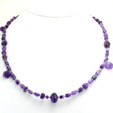 Necklace natural purple Amethyst gemstone beaded 925 solid sterling silver 21 gm