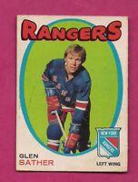 1971-72 OPC  # 221 RANGERS GLEN SATHER GOOD CARD  (INV# A6732)
