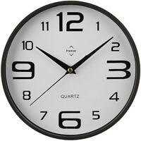 BLACK & WHITE - NEW RETRO ROUND WALL CLOCK BIG NUMBERS KITCHEN OFFICE HOME SALON