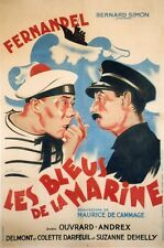 """""""LES BLEUS DE LA MARINE"""" Affiche entoilée  (Maurice DE CAMMAGE / FERNANDEL)"""
