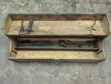 "L👀K .: Antique Primitive Wooden Tool Box w/ Latch + Tray, Plum 34.5"" x 10"" x 9"""