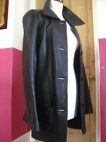 Ladies NEXT brown real leather JACKET COAT size UK 18 16 long line large trench