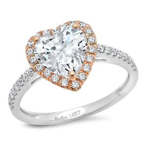 2.46ct Heart Cut Halo Anniversary Valentines Anniversary Ring 14k Two-Tone Gold