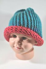 Blue and Raspberry Pink Hand Knit Hat Beanie Toddler Child 100% Acrylic