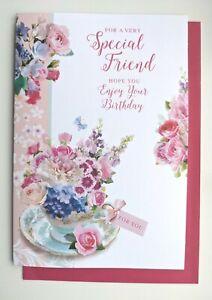 Friend Birthday Card - Flowers Glitter Ladies Female - SIMON ELVIN