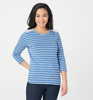 Denim & Co. Striped Jersey 3/4 Sleeve Top with Lace Detail - Seaport Blue -Large