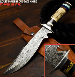 Louis Martin Hand Forged Damascus Stag Antler Trailing Art Hunting Bowie Knife