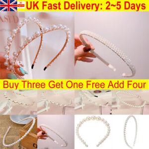 Pearl Headband Jewel Girl Ladies Headwear hair Band Accessories Wedding Party UK