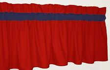 Solid Red w/ Blue Curtain Window Valance Kitchen School Bath Bedrooom Baby Dorm