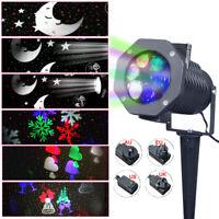 10 Pattern Rotating LED Projection Light Xmas Party Garden Snowflake Spotlight