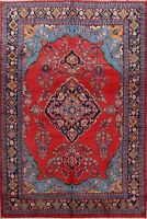Vintage Floral Sarouk Medallion Hand-Made Area Rug Classic Oriental Carpet 7x10