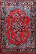 Vintage Floral Sarouk Medallion Hand-Made Area Rug Classic Oriental Carpet 7x10