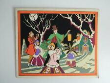 Gravure ancienne coloriée au pochoir signée GAUDIN soir de Noêl c.1930