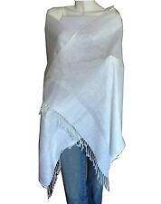 Soft New Pashmina Paisley Floral Silk Wool Scarf Wrap Shawl-White