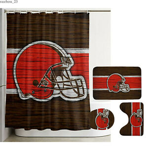 Cleveland Browns Bathroom Rugs Set 4PCS Shower Curtains Toilet Lid Cover Mats