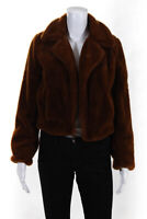 Blank NYC Womens Faux Fur Notched Collar Jacket Reddish Brown Size XS