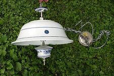 Lg VTG hanging swag lamp Blue and white flowers roses ceramic &  metal vintage
