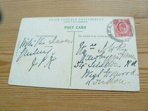 Penang to London Postage Stamp on A Kaulfuss of Penang Postcard Malaysia Malaya
