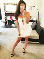New Bodycon White Fitted Dress Stretch Evening Party Clubwear Womens Size UK