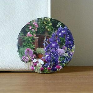 Pocket Mirror Handbag Compact Make Up Flower Gift Bag Pouch Original Purple